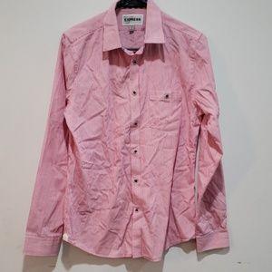 Mens express button down pink/white striped shirt